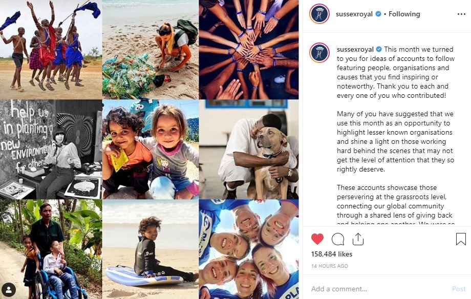 Markle's Instagram Impacting Small Charities-Post